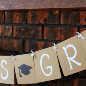 Congrats Grad Banner for Graduation - Kraft, Neutral, High School Graduation, College Graduation
