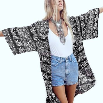 Fashion Women Summer Style Kimono Cardigan Plus Size Three Quarter Casual Shirt Elephant Print Blouse