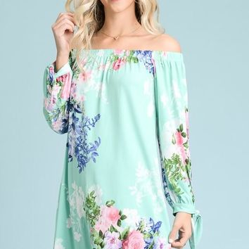 Off Shoulder Floral Dress -  Mint -SHIPS MONDAY, MARCH 11TH