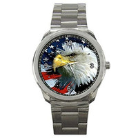 American Eagle and Flag on a Mens or Womens Silver Sports Watch