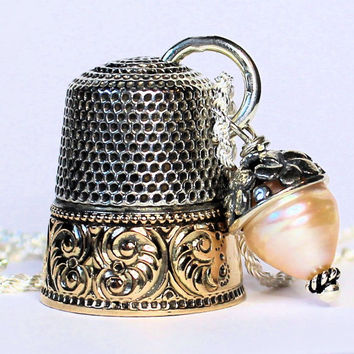 Antique Thimble and Acorn Charm Peter Pan and Wendy Kisses Necklace Sterling Silver Second Star Right
