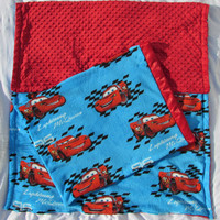 Free pillowcase! Cars soft and comfy fabric with reverse red minky dot blanket toddler, oversize toddler, and twin sizes