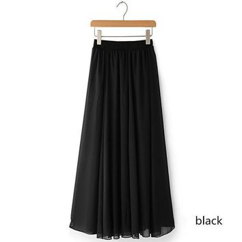 Women chiffon long skirt candy color pleated Women skirtsskirts in floor 100%cm length 19colors long saia