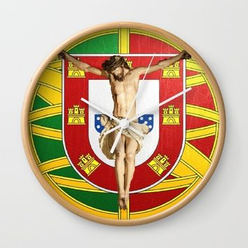 Portuguese religious culture Wall Clock by Tony Silveira