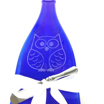 Melted Bottle Cheese Tray in Cobalt Blue Glass with Owl Design