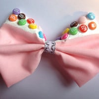 Fairy Kei Pastel Pink M&MS Hair Bow With White Frosting - Decoden Hairbow Dripping Melting Candy Chocolate Rainbow Kawaii Kitch Sweet