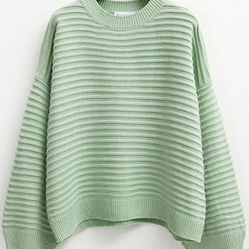 Green Striped Loose Sweater
