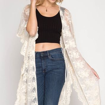 Kimono Short Sleeve Mesh Lace Midi Cardigan with Waist Drawstring - Natural