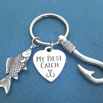 My best catch, Big fish, Hook, Silver, Key ring, Hook on you, Keychain, Birthday, Lovers, Best friends, Gift, Jewelry, Accessory