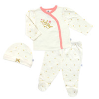 Just Born® Size 3M 3-Piece Sparkle-Little Star Shirt, Pant, and Hat Set in Ivory