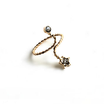 """""""Wrapped Up"""" Gold Midi Ring With Diamond Accent"""
