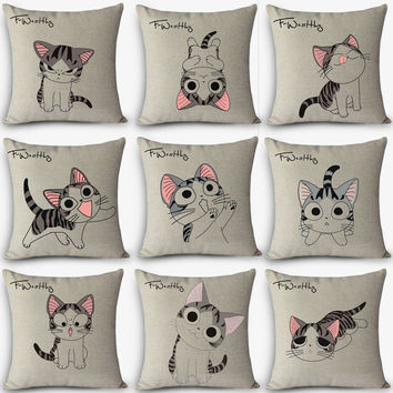 12 kinds cushions cute cat Print Home Decorative Cushion Throw Pillow Vintage Cotton Linen