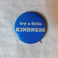 "Vintage Pin Pinback Button That Reads "" Try a Little Kindness"" Dr28"