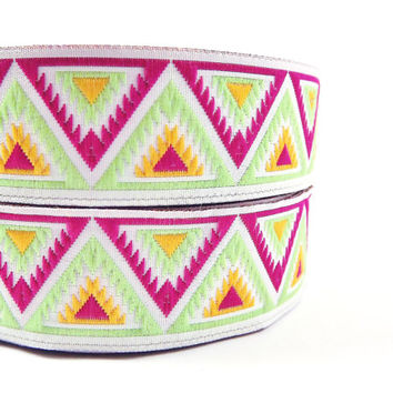 Hot Pink & Lime Green Chevron Triangle Woven Embroidered Jacquard Trim Ribbon - 1 Meter  or 3.3 Feet or 1.09 Yards