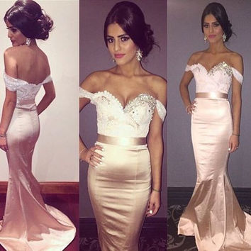 Off-shoulder Mermaid Prom Dresses Evening Dress