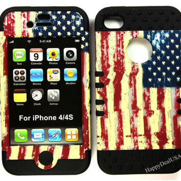 KoolKase Rocker Silicone Cover Case for APPLE iPhone 4 4S BK/American Flag