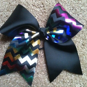 "Big 3"" Tick Tock Cheer Bow Black Rainbow Holographic Chevron Cheerleading Practice Hair Bow for allstar Cheerleader also Great for Softball"