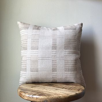 PATCHWORK STRIPE HAMONG CREAM & BROWN PILLOW