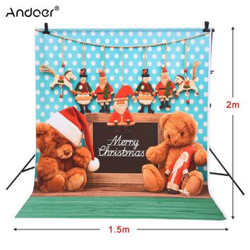 Andoer 1.5 * 2m Photography Background Backdrop Fantasy Bear Christmas Santa Claus Wood Floor Pattern for Photo Studio Portrait