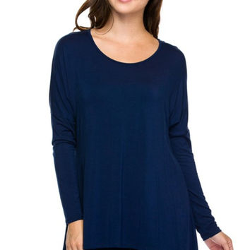 Long Sleeve Tunic Top With Sharkbite hem