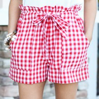 All In Gingham Shorts - Red