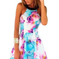 Women Summer Floral Sleeveless Backless Night Club Cocktail Party Dress