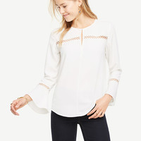 Lace Detail Flare Sleeve Top | Ann Taylor
