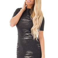 Black Destroyed Knit Dress with Side Slit Detail
