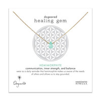 healing gem hemimorphite necklace, gold dipped, 16 inch