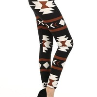 Tribal Print Leggings Brown and Black