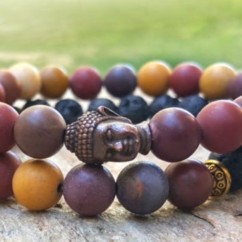 Set of 2 Spiritual Buddha Bracelet Set Mens Gemstone Bracelet Stackable Bracelet Stacking Jewelry Prayer Beads Intention Good Luck Mens Gift