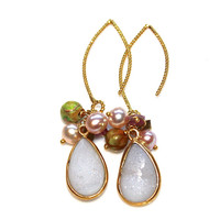 White Druzy Earrings Druzy Jewelry Drop Earrings Sparkly Earrings Pearl Earrings Unakite Earrings Cluster Earrings Fun Jewelry