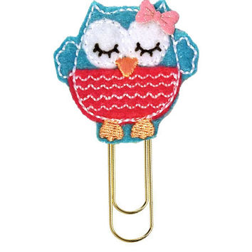 Blue Punk Owl Planner Clip| Paper clips| Planner Accessory| Journal Marker| Bookmark| Teachers| Friends| Gifts