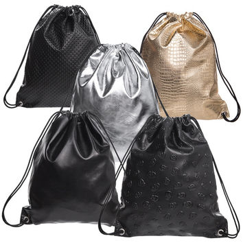 PU Leather Drawstring Bags For Women Soft Geometric Laser Backpacks Travelling Causal School Bags For Teenagers Skull Mochilas