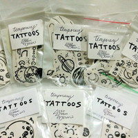 SPACEY Tattoo Packs, flash tattoos, hand drawn outer space, planets, moon, stars temporary tattoos