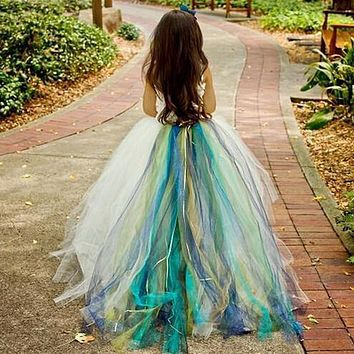 2017 Colorful Lovely Flower Girl Dresses Ball Gown Tulle One Shoulder Cute Little Girls Pageant Dress Kids Children Dress 2017