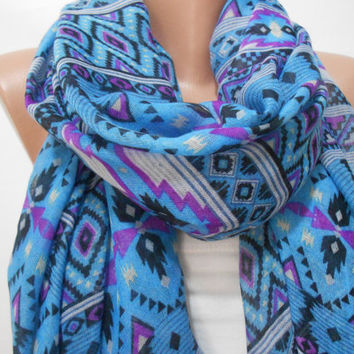 Boho Tribal Blue Scarf Shawl, Aztec Pattern Blue Scarf Shawl, Blue Cowl Scarf, Fashion Women Accessories, Gift For Her For Mom, ScarfClub
