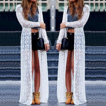 Lace Crochet Long Sleeve Cardigan Cover Up, Multiple Colors