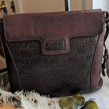 Vintage BRAHMIN Two Tone Brown Woven Leather Bucket Crossbody Bag