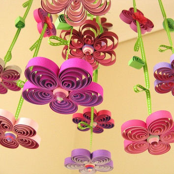 Quilling - Girl Mobile - Purple Flower Rain Quilled Mobile - Crib Mobile - Purple Mobile - Baby Mobile 1H