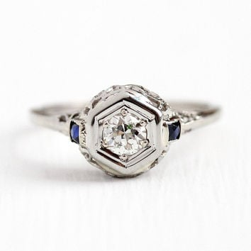 Antique Diamond Ring - Vintage Art Deco 18k White Gold 1/3 CT - Size 7 1/4 1920s Filigree Engagement Fine Created Blue Sapphire Jewelry