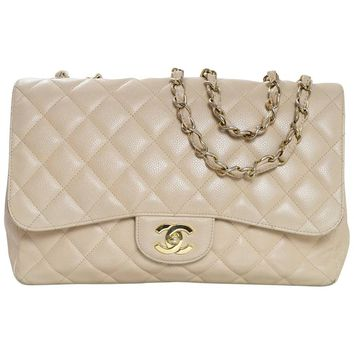 Chanel Beige Quilted Caviar Leather Jumbo Single Flap Bag with Box/Card/ DB