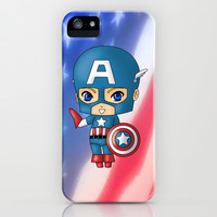 Chibi Captain America iPhone & iPod Case by artwaste