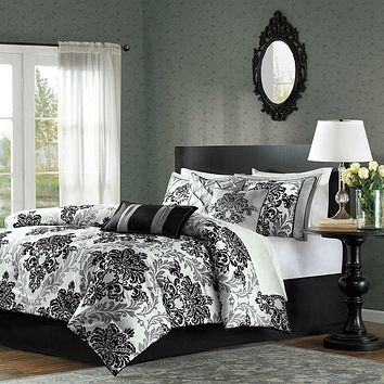 floral bag bed white in set grey bedding comforter queen black and sets mainstays a