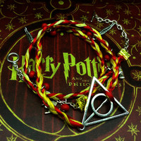 Harry Potter jewelry - Deathly Hallows in Gryffindor color wrap bracelet