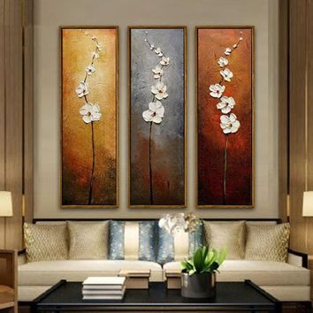 3Pcs/Set Flower Abstract Art Painting On Canvas Home Wall Decoration No Framed