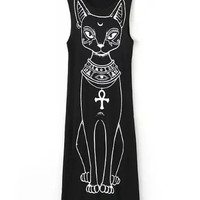 Black Cat Printed Sleeveless Maxi Dress