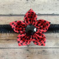 Ladybug Headband, Baby Headband, Flower Headband, Newborn Headband, Red Polkadot Headband, Toddler Girl Headband