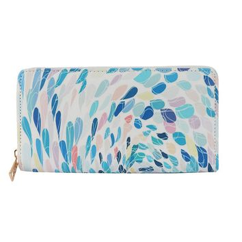 Blue Peacock Feather Print Vinyl Clutch Wallet Bag Accessory
