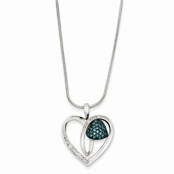 Sterling Silver Blue & White Diamond Heart Pendant Necklace
